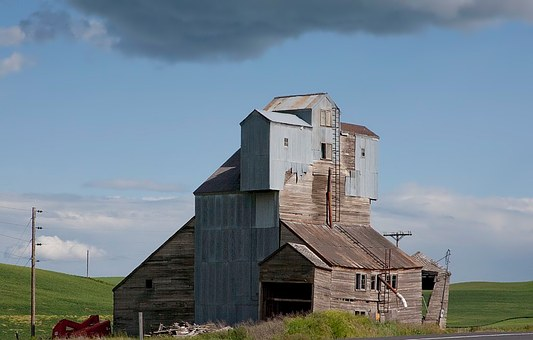 Grain Elevator, Idaho, Landscape, Agriculture, Old