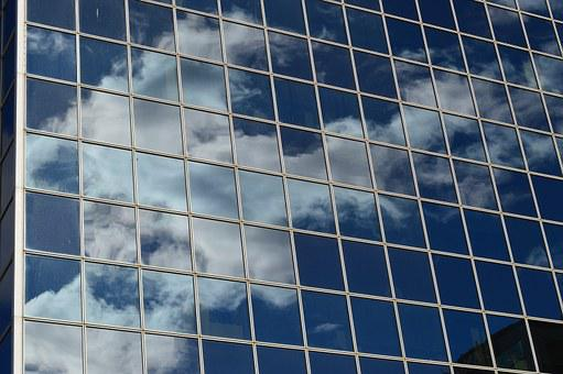 Building, Clouds, Reflection, Glass, Windows, Blue