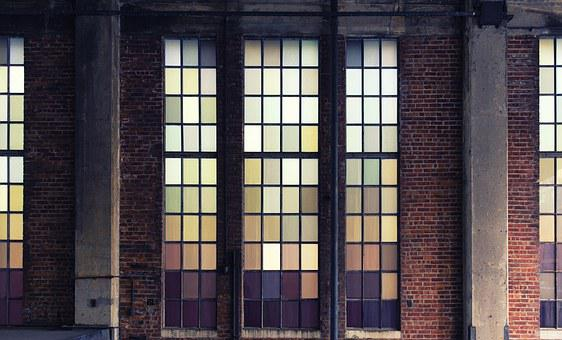 Old Building, Glass, Colors, Rectangles, Building, Old