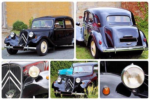 Collage, Citroen 11cv, Oldtimer, Classic, France