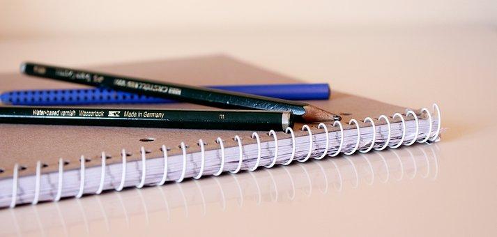 Spiral Notebook, Notepad, Block, Pen, Pencil, Desk Pad