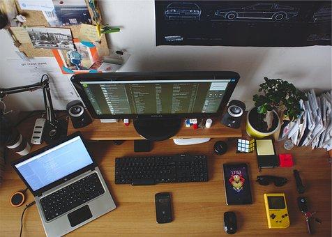 Desk, Office, Room, Laptop, Hp, Monitor, Keyboard