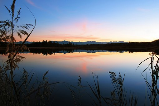 Easter Lakes, Bavaria, Germany, Sunset, Landscape, Lake