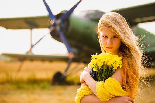 Girl, Flowers, Holding Flowers, Yellow Flowers