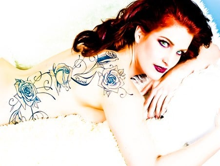 Glamour, Tattooed, Rousse, Woman, Portrait