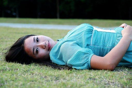 Small Fresh, Portrait, The Scenery, Grass, Woman