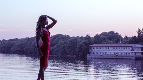 Girl In Red Dress, On The Shore, Hands, Model, Water
