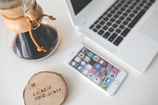 Desk, Table, Coffee, Chemex, Laptop, Work, Working