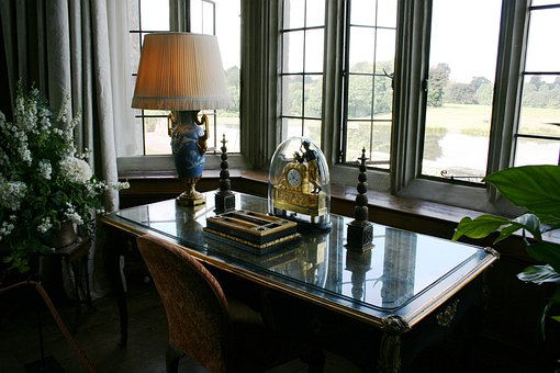 Desk, Office, Window, Leeds Castle, England