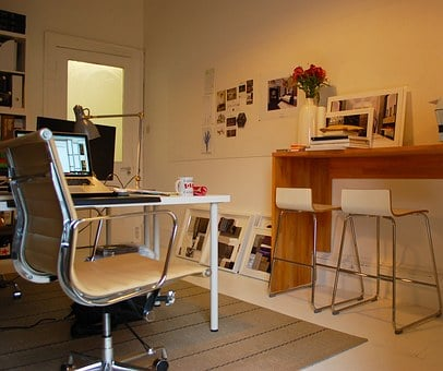 Home Office, Small Office, Computer Chair, Roses