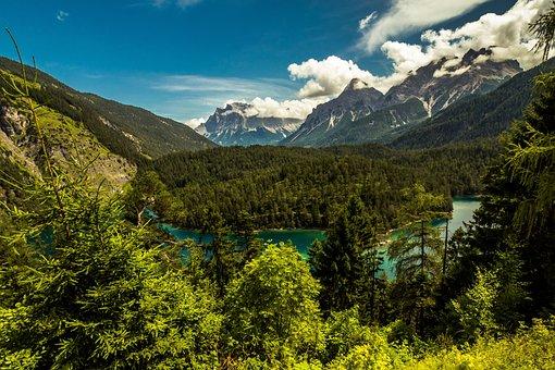 Austria, Far Right, Fernpaß, Fernsteinsee, Tyrol, Lake