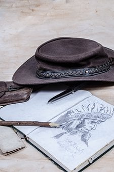 Cowboy, Western, West, Hat, Book, Diary, Painting