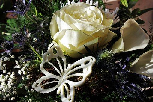 White Rose, Bouquet, Deco Butterfly, White Calla