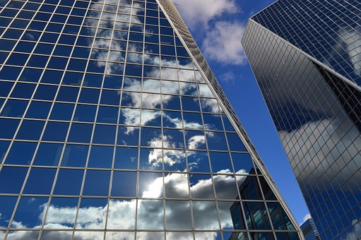 Buildings, Clouds, Reflection, Glass, Windows, Blue