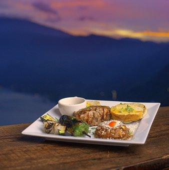Dinner, Open Air, Restaurant, Landscape, Sunset, Dusk