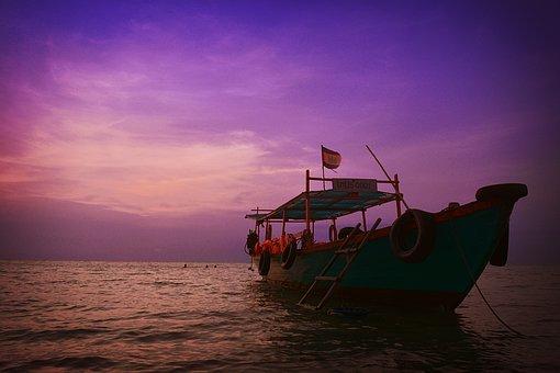 Yellow, Red, Magenta, Fishing, Fisherman, Kampot