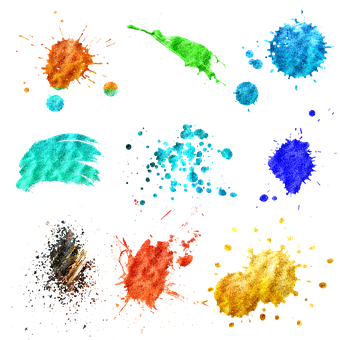 Paint Strokes, Blobs, Glitter, Splat, Paper, Brush