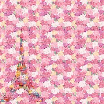 Paris Digital Paper, French, Paris, Antique, Watercolor