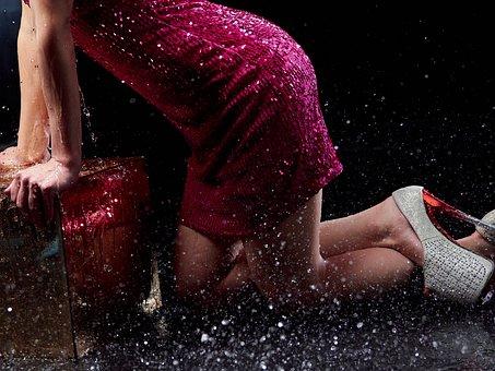 Legs, Spray, Shoes, Rain, Dress, On My Knees, Water