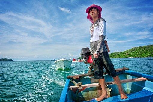 Traditional, Man, Boy, Khmer, Koh Rong, Cambodia