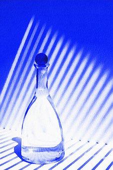 Watercolor Blue Bottle, Shadow, Watercolor Still Life