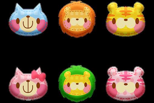 Kawaii Animals, Animal Stickers, Sheep, Cow Pig, Kawaii