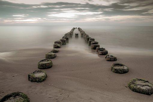 Breakwater, Sea, Beach, Empty, The Lack Of People