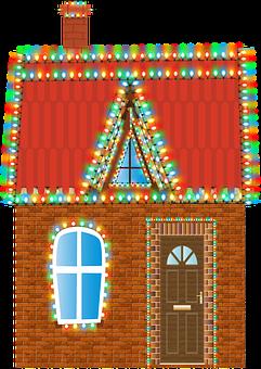 Christmas House, Brick House, Christmas Lights, Chimney