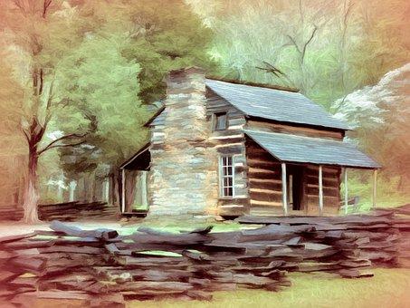 Cabin, Log, House, Vintage, Rustic, Cottage, Home