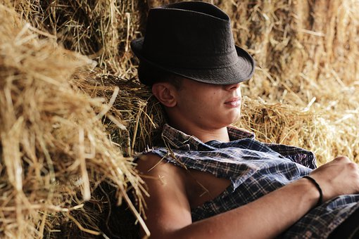 Boy, Sleep, Ranch, Day, Straw, Hat, Human, People