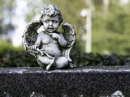 Statue, Angel, Baby, Cemetery, Sculpture, Figure, Hope
