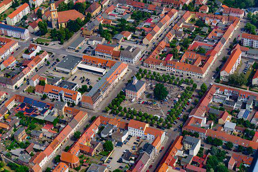 Aerial View, Templin, Uckermark, Marketplace