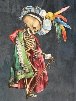 Skeleton, King, Prince, Skull, Bones, Dead, Feathers
