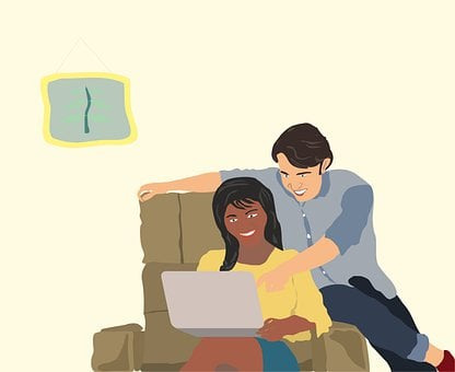 Couple, Portable, Sofa, Fun, Smile, Together, Joy