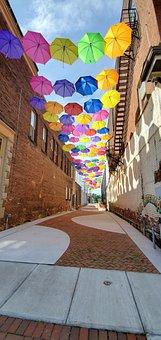 Umbrella, Alley, Street, Sky, Alleyway