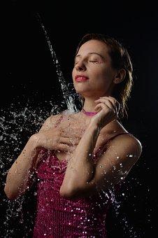 Portrait, Water, Spray, Girl, Wet
