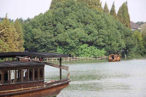 Boat, Black Awning Boat, Wupeng Boat, Tree, River