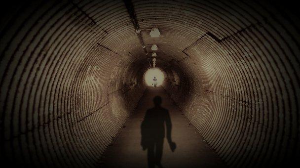 Tunnel, Dark, The Shadow Men, Men In Black, Weird