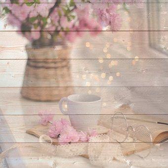 Wood Digital Paper, Floral, Bokeh
