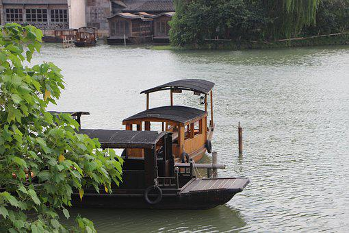 Boat, Black Awning Boat, Wupeng Boat, River, Wuzhen