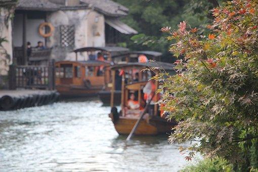 Tree, Leaves, Boat, Black Awning Boat, Wupeng Boat