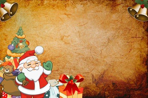 Santa, Claus, Background, Tree, Year, New, Christmas