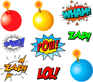 Superhero Words, Pow, Bam, Bomb, Batman, Action Words