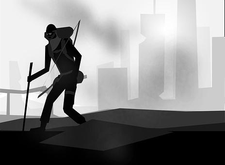 Apocalyptic, Humans, City, Fog, War