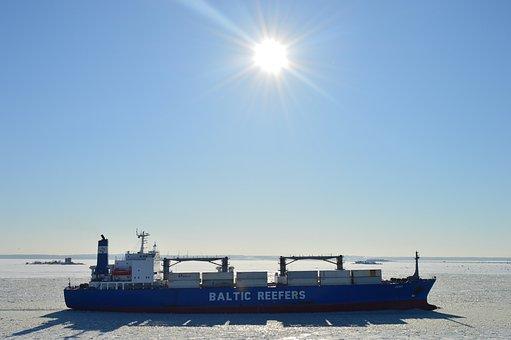 Ship, Winter, Sun, Ice, The Fairway, Sky