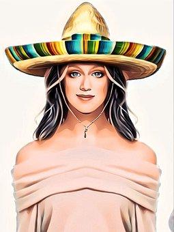 Woman, Cute, Girl, Person, Sun, Protection, Sombrero