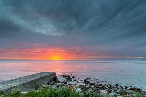 Sunrise, Water, Colorful, Landscape