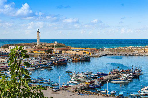 Lighthouse, Cherchell, Algeria, Port, Fishing, Blue