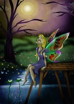 Story, Magic, Lake, River, Butterfly