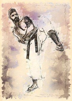 Karate, Fighting, Sport, Man, Male, Human, Person